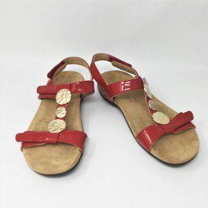 VIONIC Farra Red Patent Velcro Sandals 8
